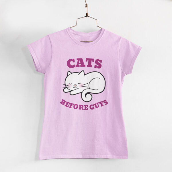 Cats Before Guys Light Pink Round Neck T-Shirt