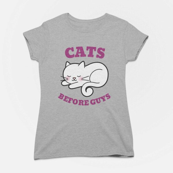 Cats Before Guys Melange Grey Round Neck T-Shirt