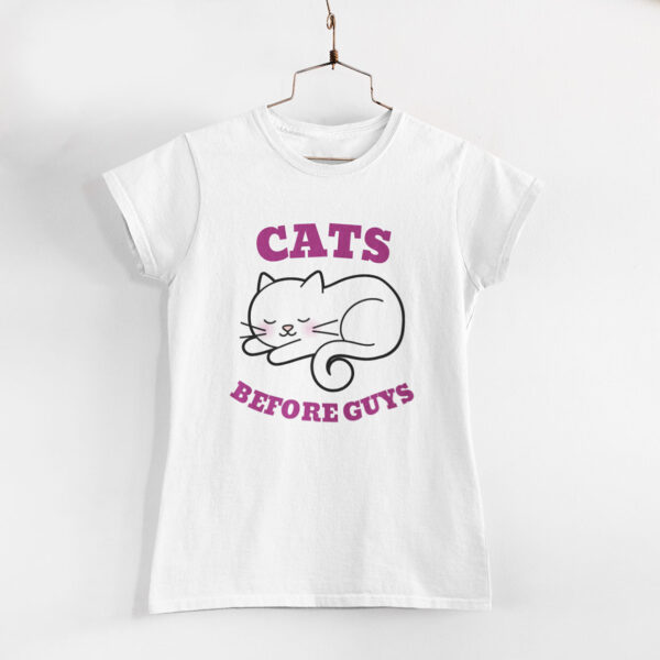 Cats Before Guys White Round Neck T-Shirt