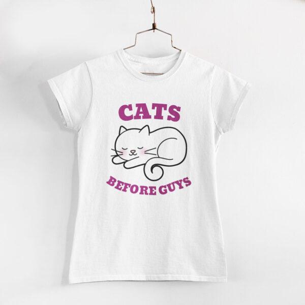 Cats Before Guys White Round Neck T-Shirt