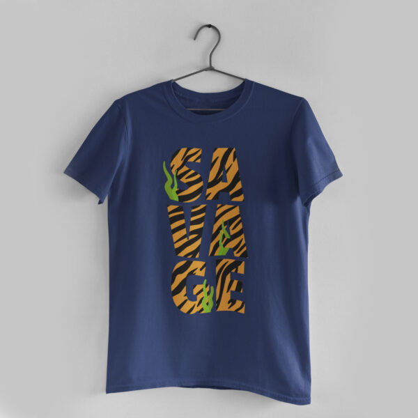 Savage White Navy Blue Round Neck T-Shirt