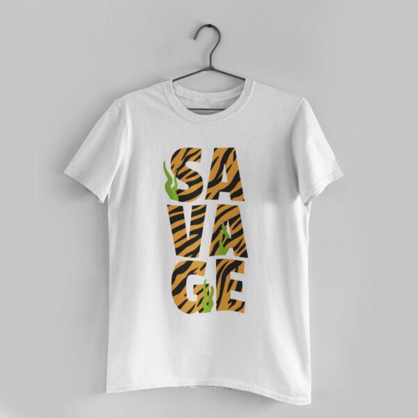 Savage White Round Neck T-Shirt