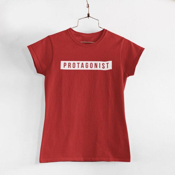 Protagonist Women Red Round Neck T-Shirt