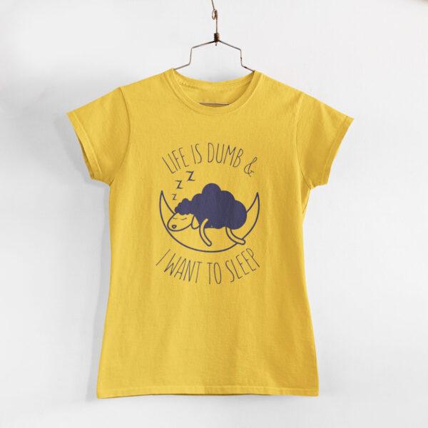 I Want To Sleep Women Golden Yellow Round Neck T- Shirt