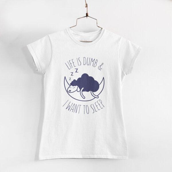 I Want To Sleep Women White Round Neck T- Shirt