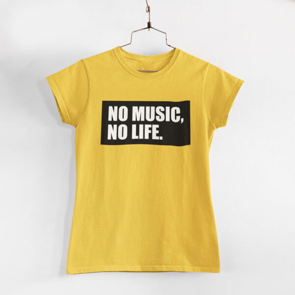 No Music, No Life Women Golden Yellow Round Neck T-Shirt