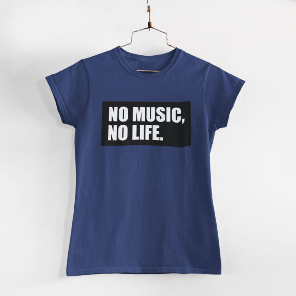 No Music, No Life Women Navy Blue Round Neck T-Shirt
