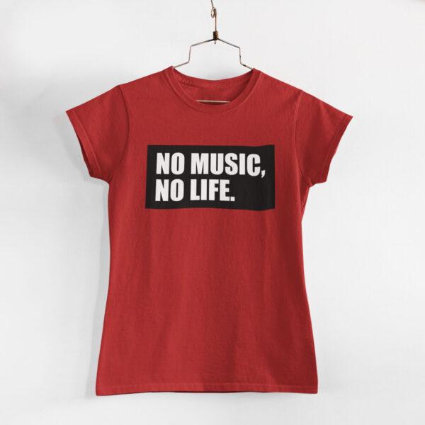 No Music, No Life Women Red Round Neck T-Shirt