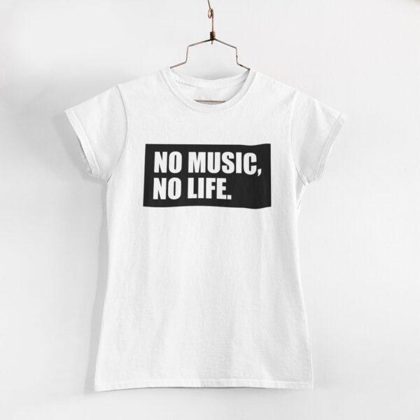 No Music, No Life Women White Round Neck T-Shirt