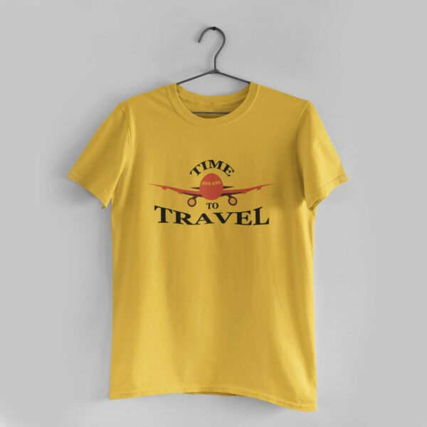 Time To Travel Golden Yellow Round Neck T- Shirt