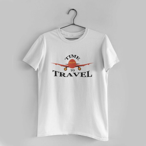 Time To Travel White Round Neck T- Shirt