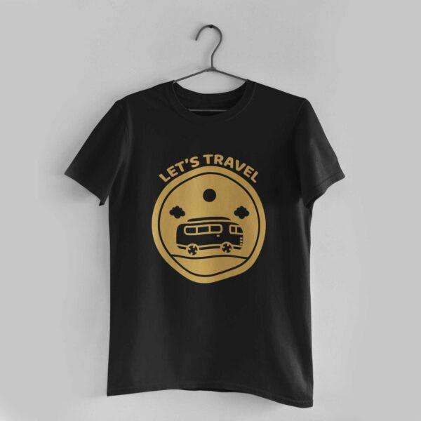 Let's Travel Black Round Neck T-Shirt