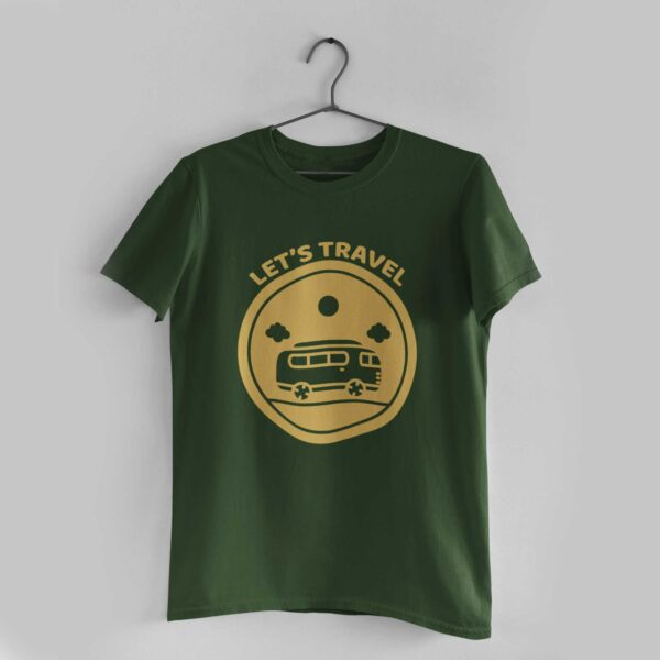 Let's Travel Olive Green Round Neck T-Shirt