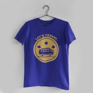 Let's Travel Royal Blue Round Neck T-Shirt