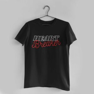 Heart Breaker Black Round Neck T-Shirt