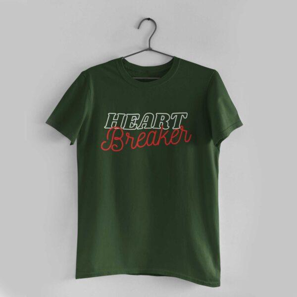 Heart Breaker Olive Green Round Neck T-Shirt
