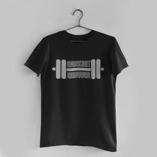 Workout Warrior Black Round Neck T-Shirt