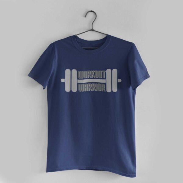 Workout Warrior Navy Blue Round Neck T-Shirt