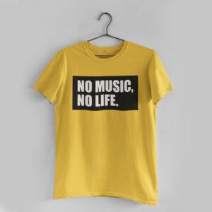 No Music, No Life Golden Yellow Round Neck T-Shirt