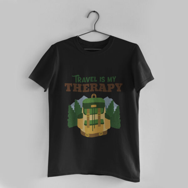 Travel is my Therapy Black Round Neck T-Shirt