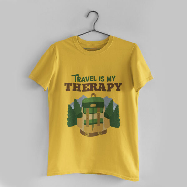 Travel is my Therapy Golden Yellow Round Neck T-Shirt