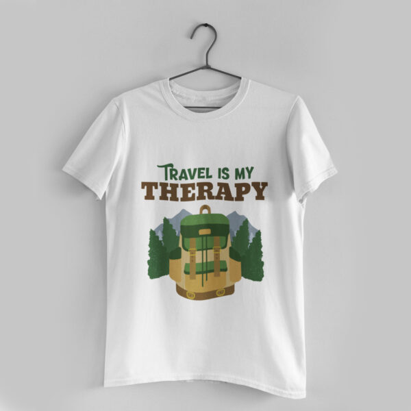 Travel is my Therapy White Round Neck T-Shirt