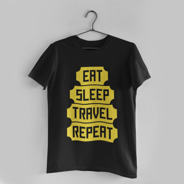 Eat Sleep Travel Repeat Black T-Shirt