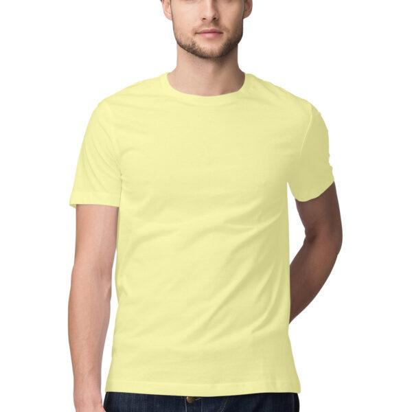 Butter Yellow Green Plain Men Round Neck T-Shirt