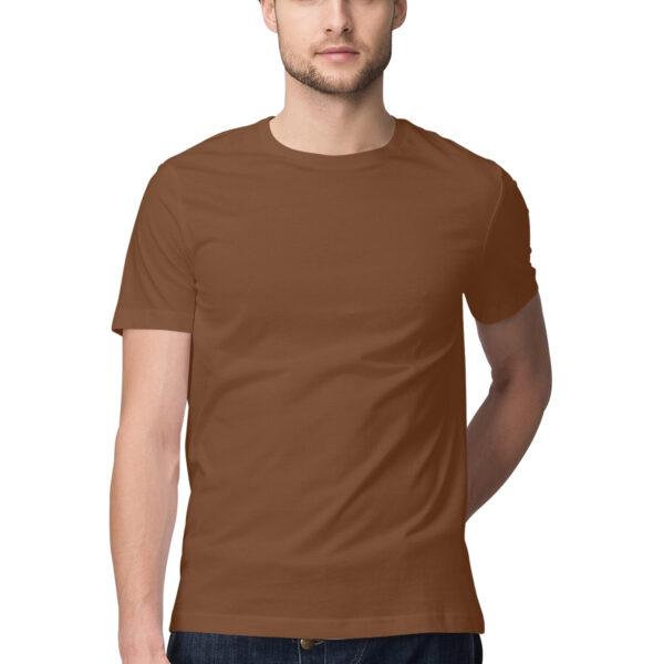 Coffee Brown Green Plain Men Round Neck T-Shirt