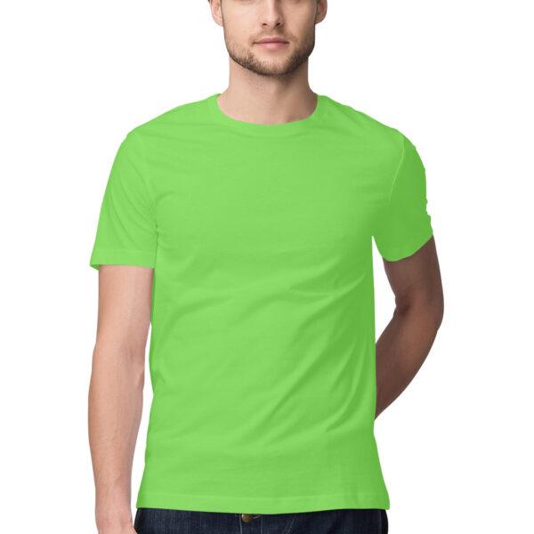 Liril Green Plain Men Round Neck T-Shirt