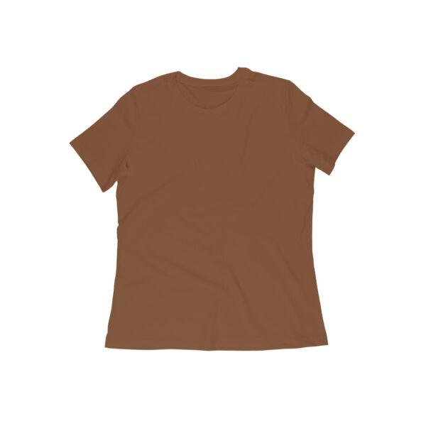 Coffee Brown Plain Women Round Neck T-Shirt