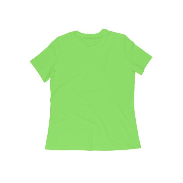 Liril Green Plain Women Round Neck T-Shirt