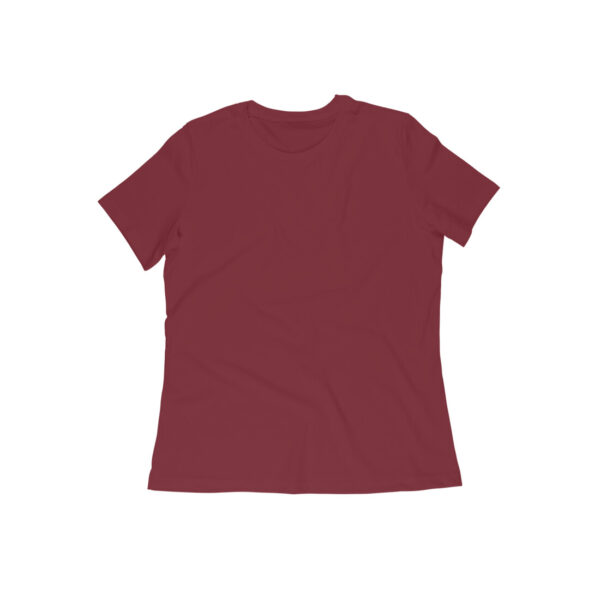 Maroon Plain Women Round Neck T-Shirt