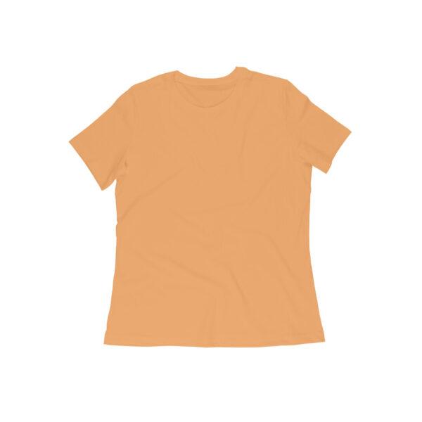 Mustard Yellow Plain Women Round Neck T-Shirt