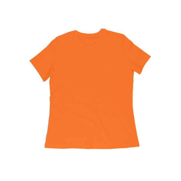 Orange Plain Women Round Neck T-Shirt