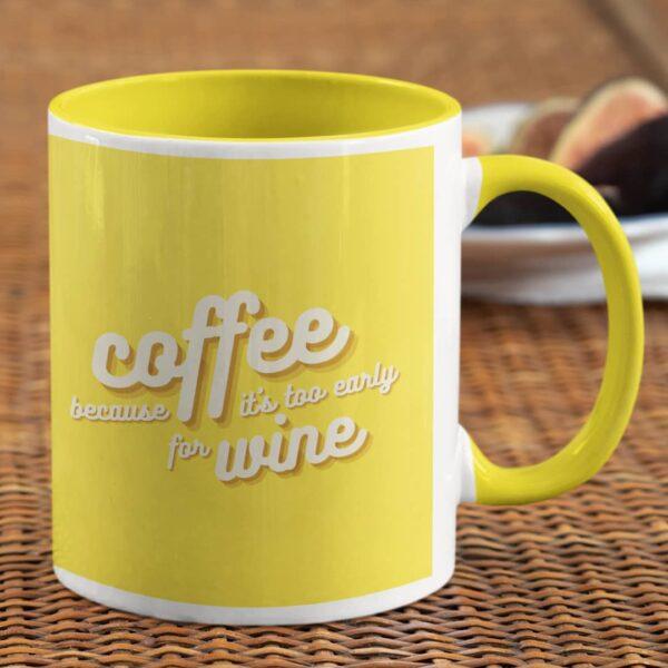 Coffee Because Yellow Inner Colored Mug