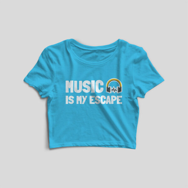 Music Is My Escape Sky Blue Crop Top
