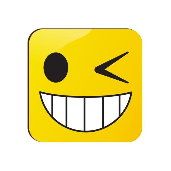 Winking Face Emoji Square Coaster