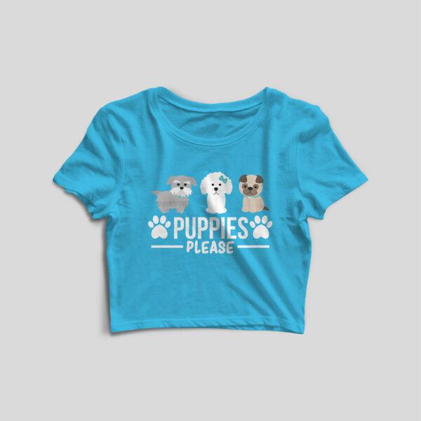 Puppies Please Sky Blue Crop Top