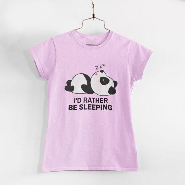 I'd Rather Be Sleeping Light Pink Women Round Neck T-Shirt