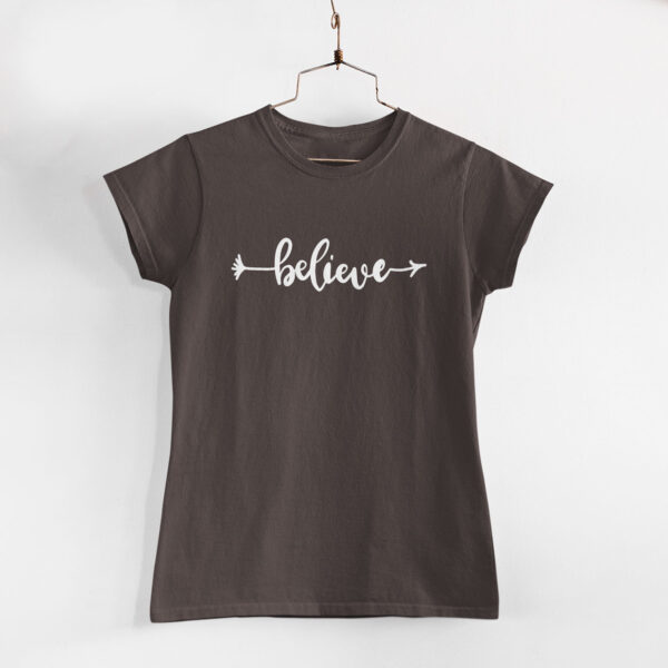 Believe Charcoal Grey Women Round Neck T-Shirt