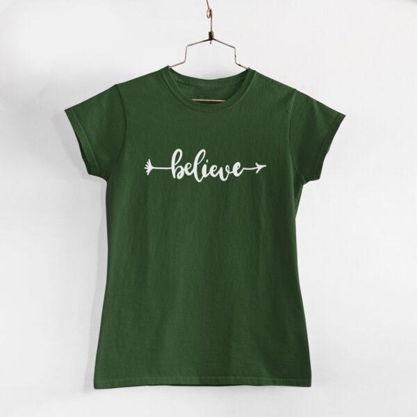Believe Olive Green Women Round Neck T-Shirt