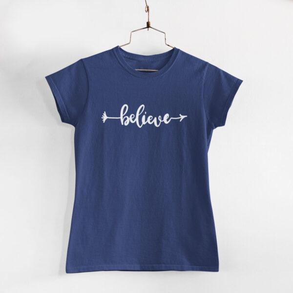 Believe Navy Blue Women Round Neck T-Shirt