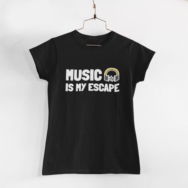 Music Is My Escape Women Black Round Neck T-Shirt