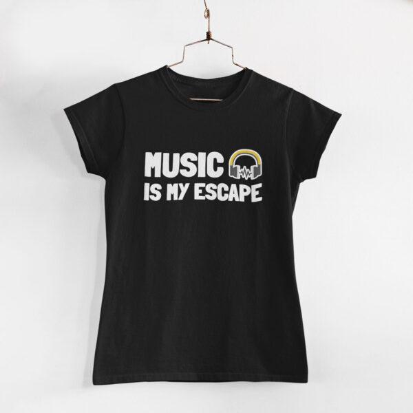 Music Is My Escape Women Black Round Neck T-Shirt