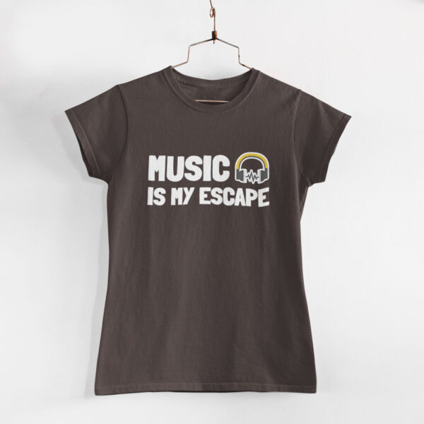 Music Is My Escape Women Charcoal Grey Round Neck T-Shirt