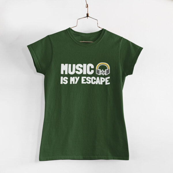 Music Is My Escape Women Olive Green Round Neck T-Shirt
