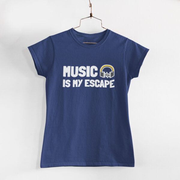 Music Is My Escape Women Navy Blue Round Neck T-Shirt