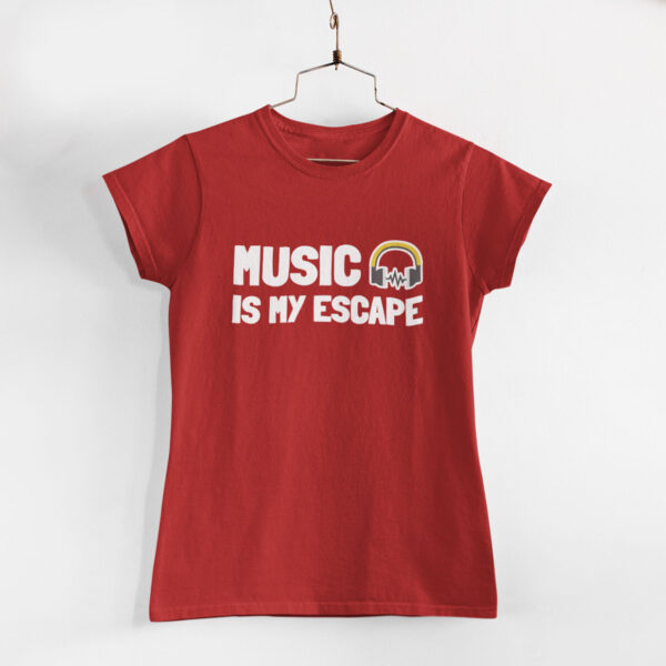 Music Is My Escape Women Red Round Neck T-Shirt