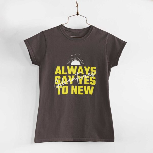 Adventures Women Charcoal Grey Round Neck T-Shirt